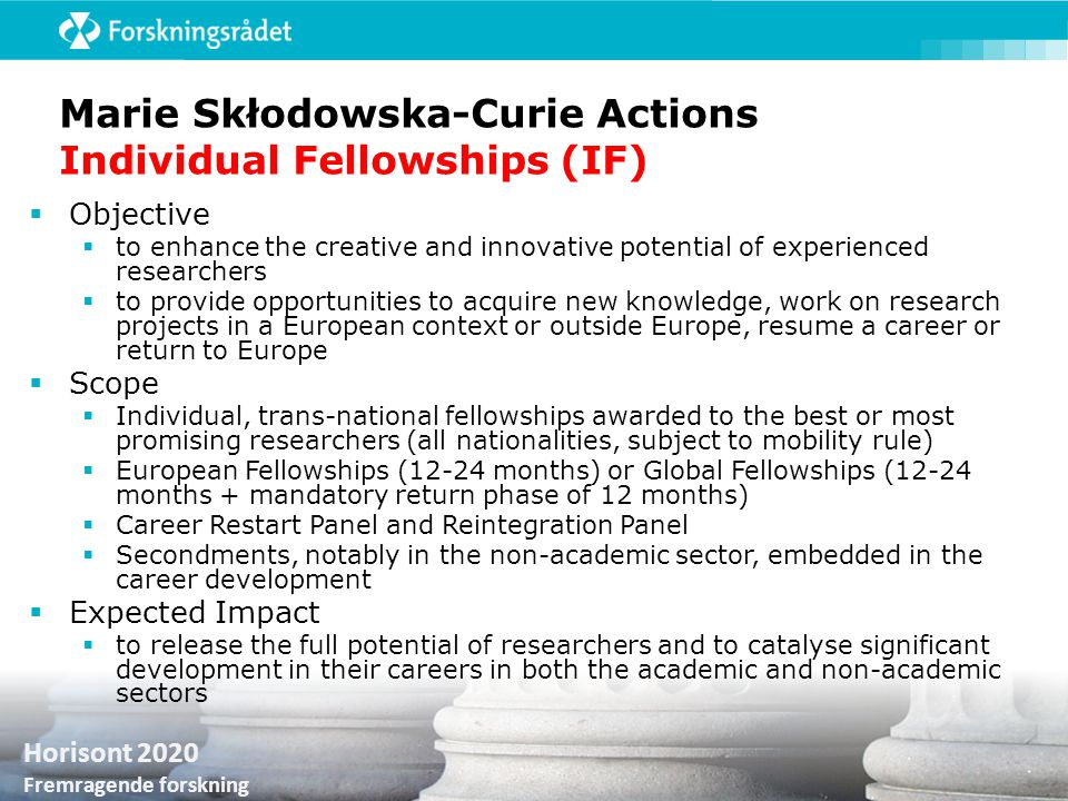 Marie Skłodowska-Curie Actions Individual Fellowships (IF)
