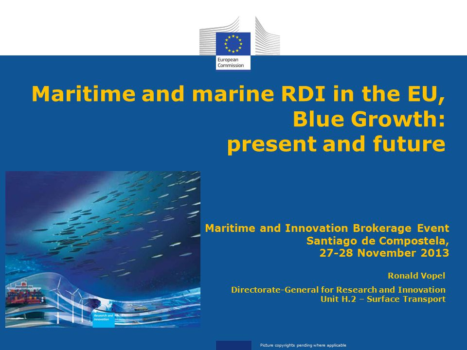 Maritime and marine RDI in the EU, Blue Growth: present and future