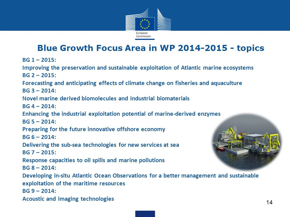 Blue Growth Focus Area in WP 2014-2015 - topics