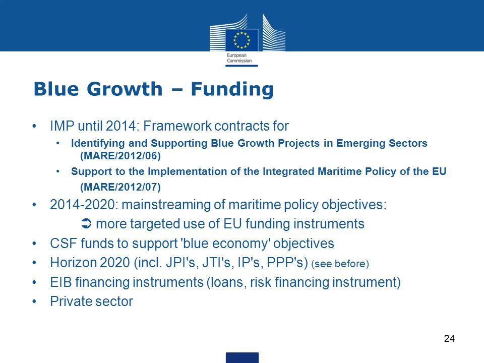 Blue Growth – Funding IMP until 2014: Framework contracts for