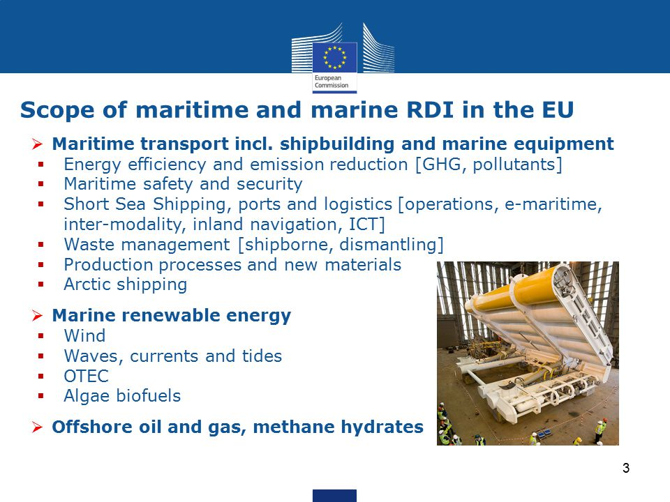 Scope of maritime and marine RDI in the EU