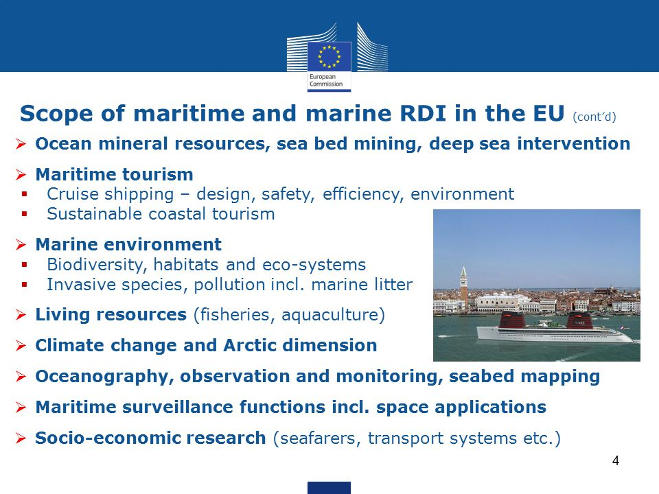 Scope of maritime and marine RDI in the EU (cont´d)
