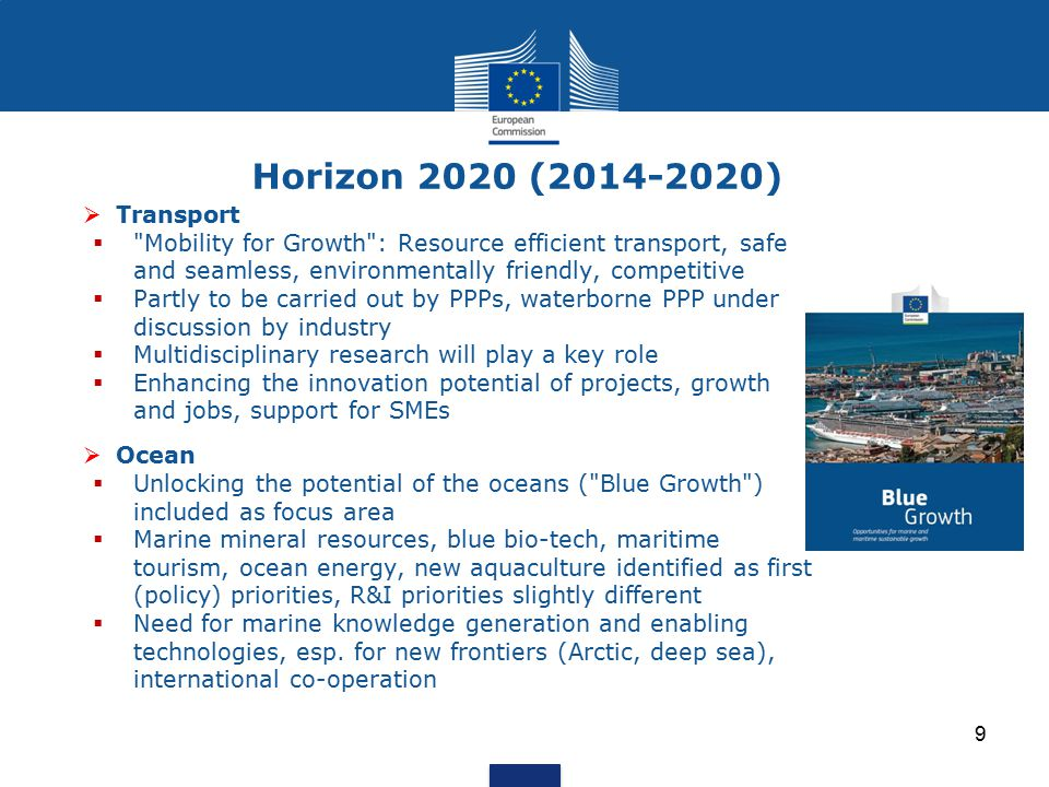 Horizon 2020 (2014-2020) Transport. Mobility for Growth : Resource efficient transport, safe and seamless, environmentally friendly, competitive.