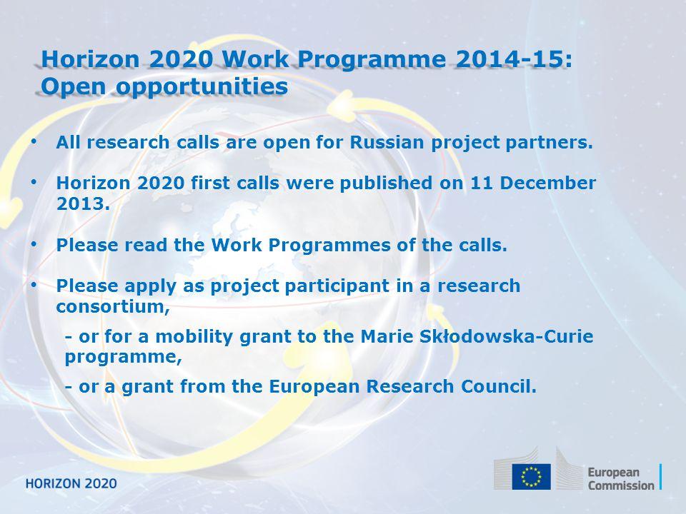 Horizon 2020 Work Programme 2014-15: Open opportunities