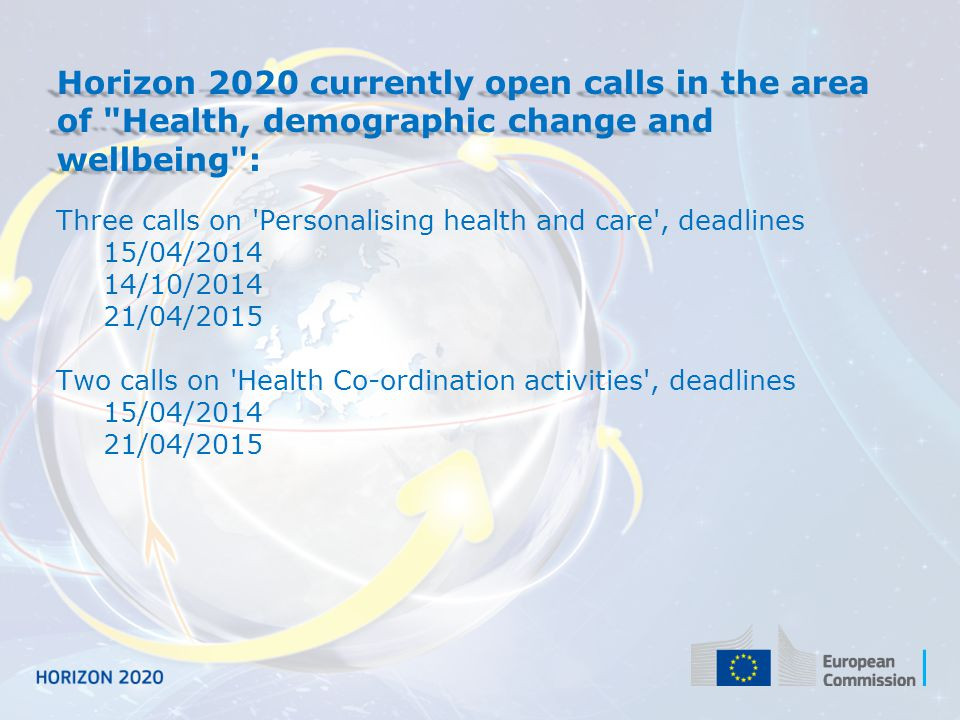Horizon 2020 currently open calls in the area of Health, demographic change and wellbeing :