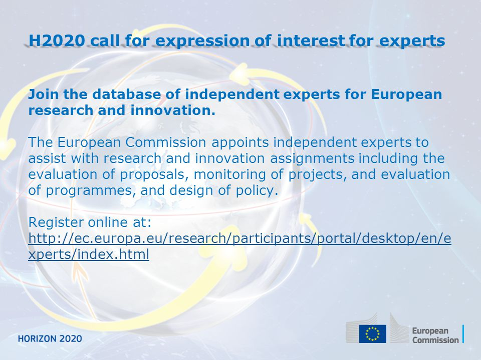 H2020 call for expression of interest for experts