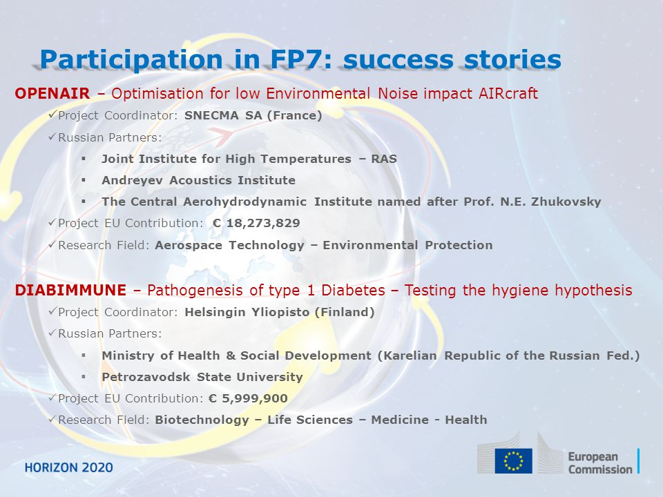Participation in FP7: success stories