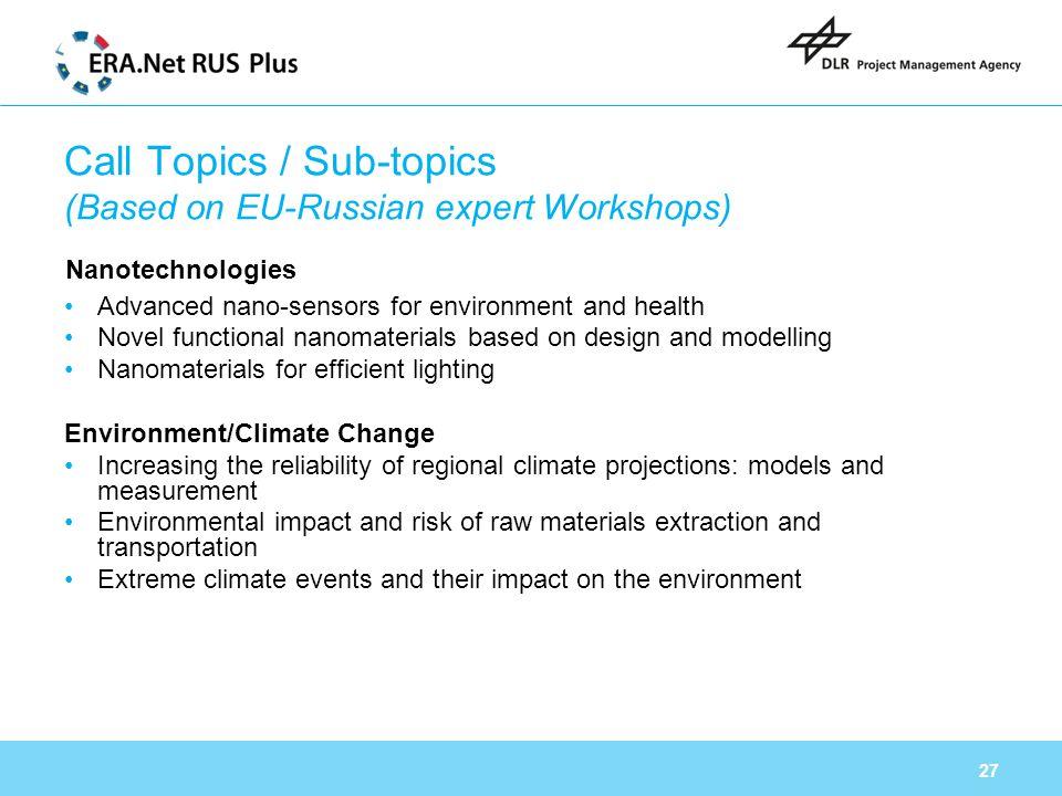 Call Topics / Sub-topics (Based on EU-Russian expert Workshops)