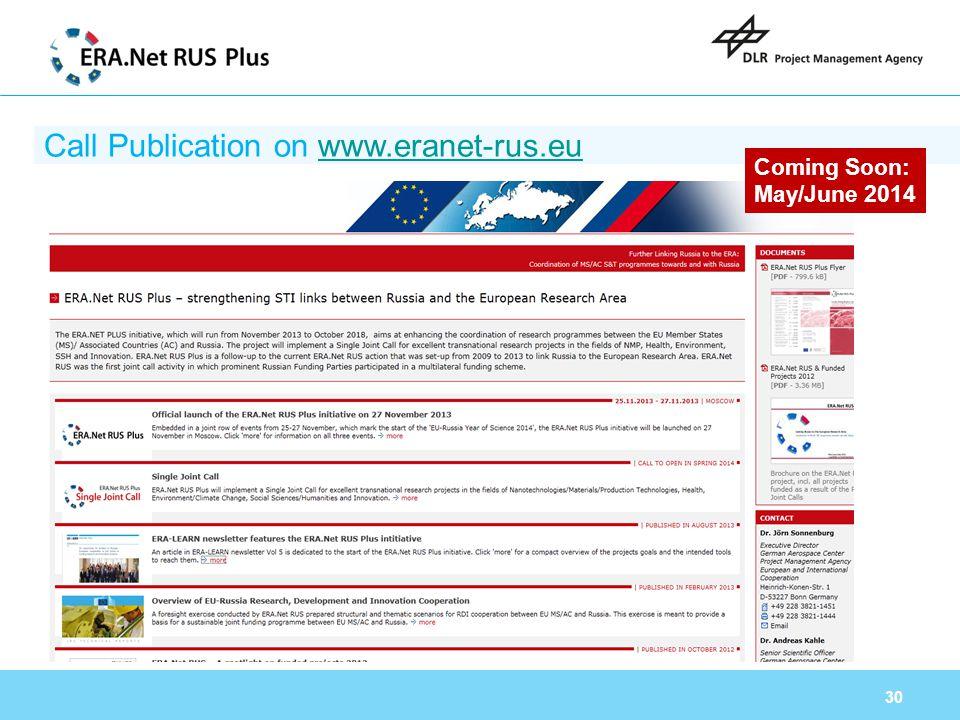 Call Publication on www.eranet-rus.eu