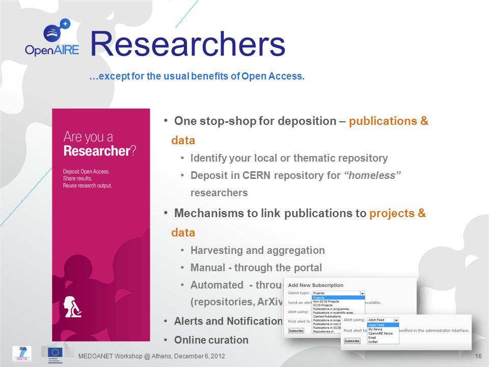 Researchers One stop-shop for deposition – publications & data