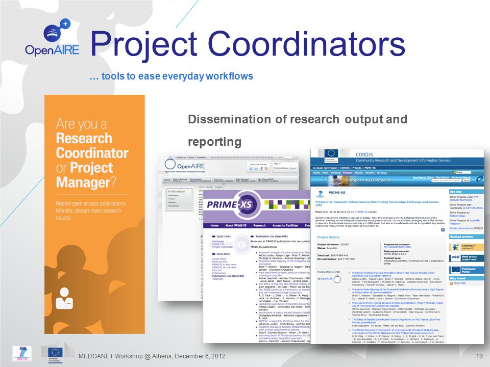 Project Coordinators Dissemination of research output and reporting