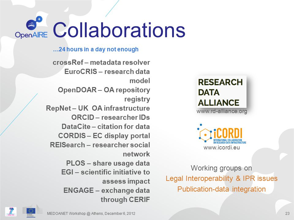 Collaborations Working groups on Legal Interoperability & IPR issues