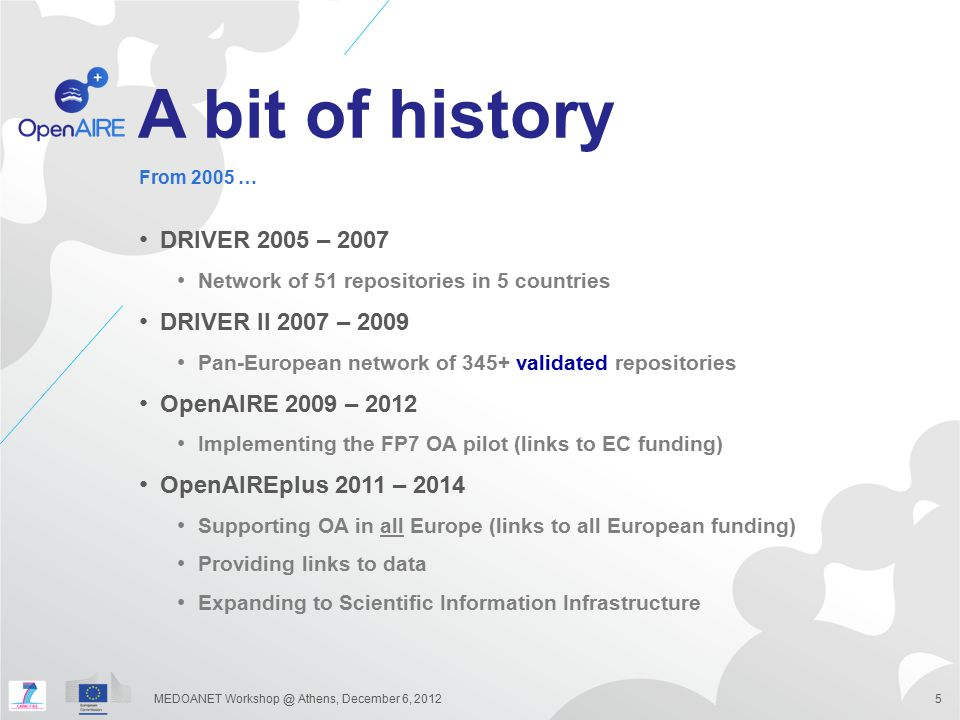 A bit of history DRIVER 2005 – 2007 DRIVER II 2007 – 2009