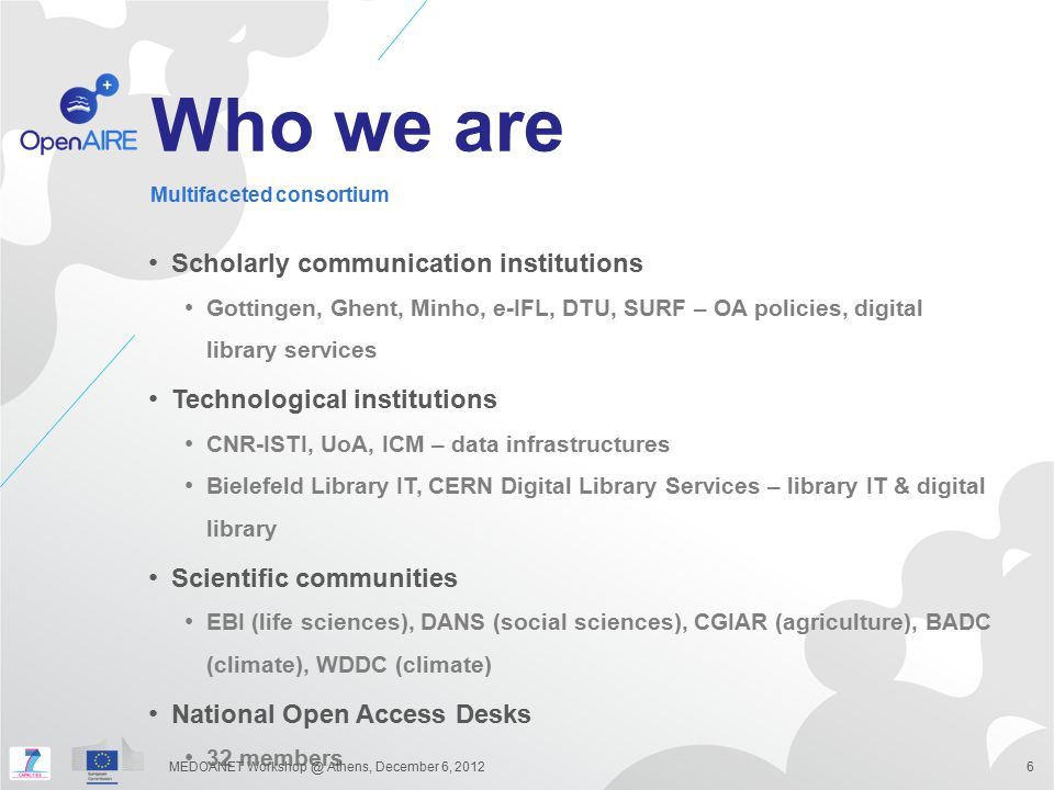 Who we are Scholarly communication institutions