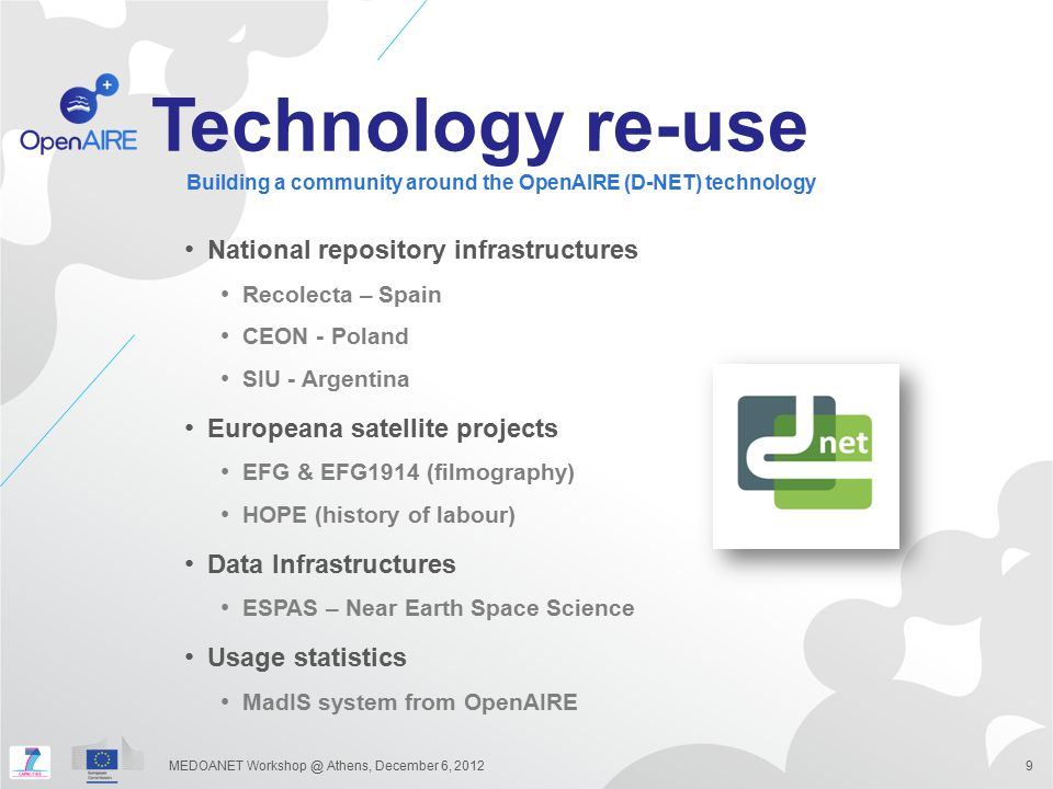 Technology re-use National repository infrastructures