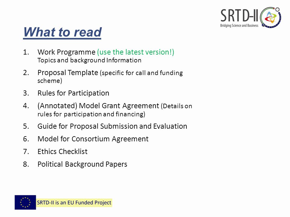 What to read Work Programme (use the latest version!) Topics and background Information.