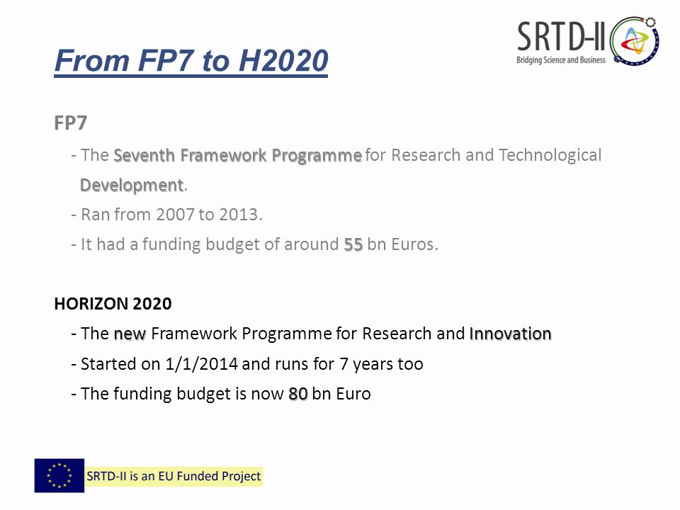 From FP7 to H2020 FP7. - The Seventh Framework Programme for Research and Technological. Development.