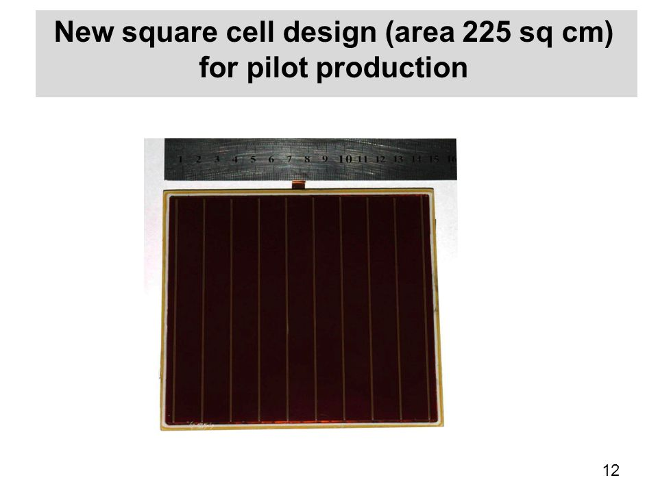 New square cell design (area 225 sq cm) for pilot production