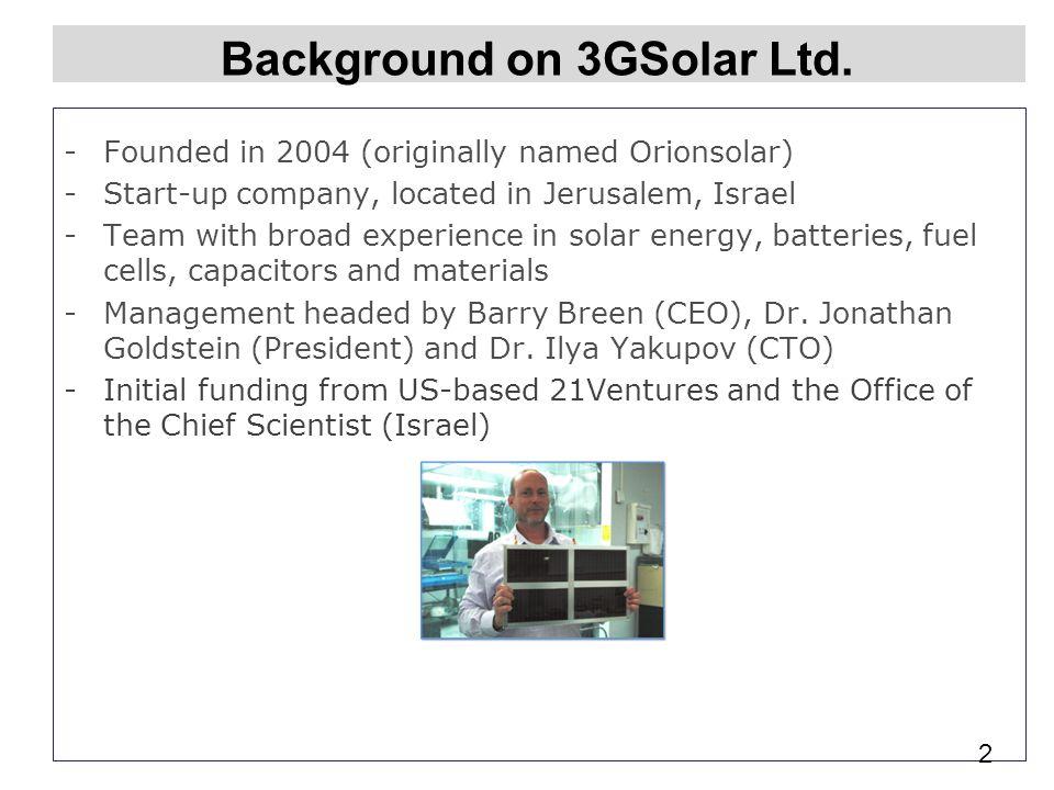 Background on 3GSolar Ltd.
