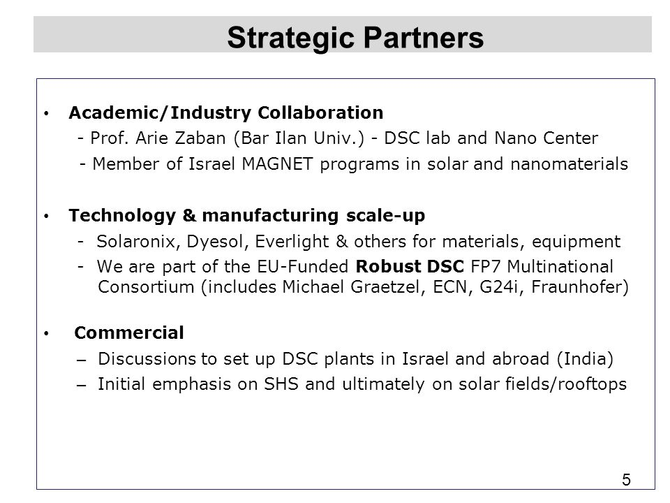 Strategic Partners Academic/Industry Collaboration