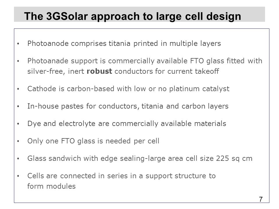 The 3GSolar approach to large cell design