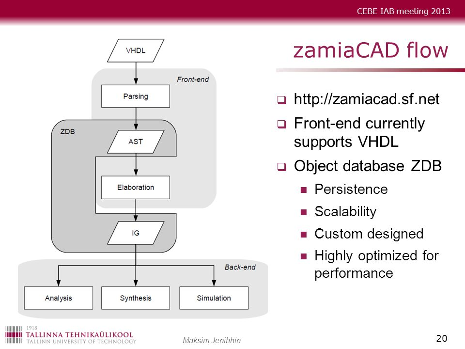 zamiaCAD flow   Front-end currently supports VHDL