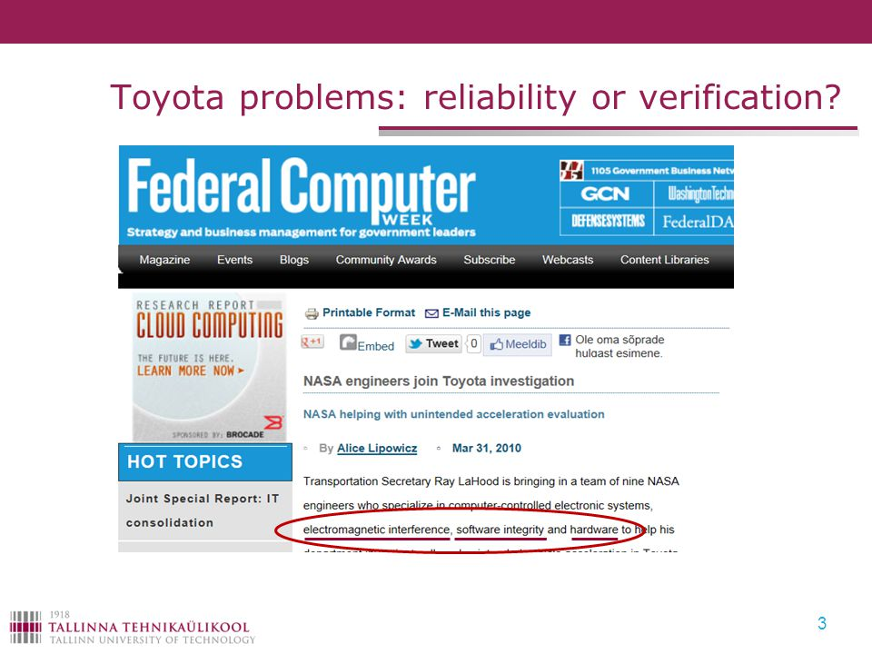 Toyota problems: reliability or verification