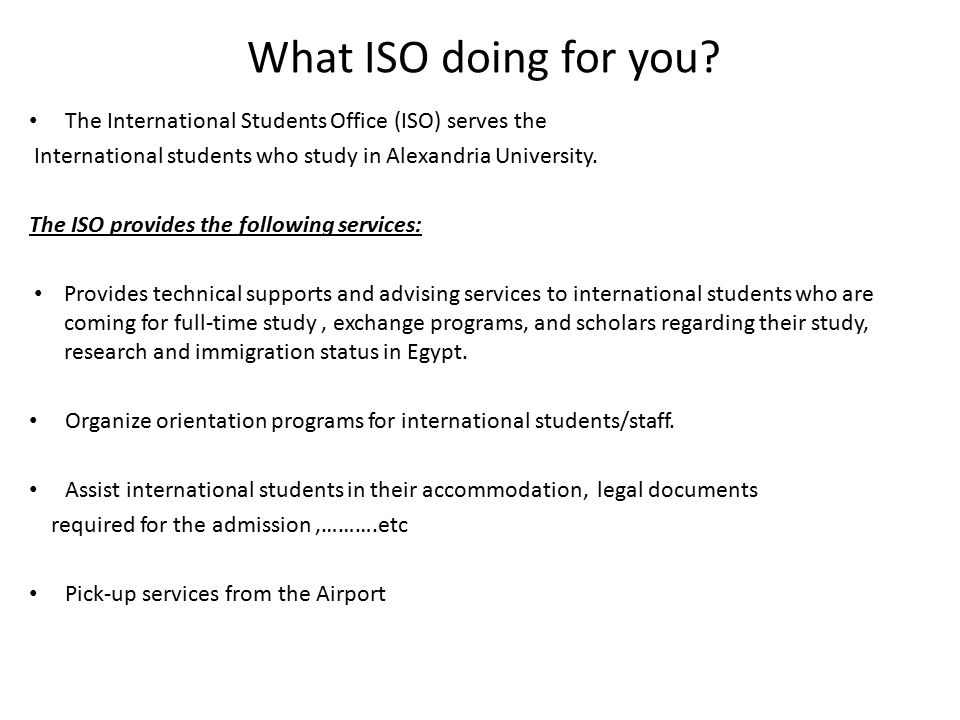 Alexandria university ppt video online download - International student services office ...
