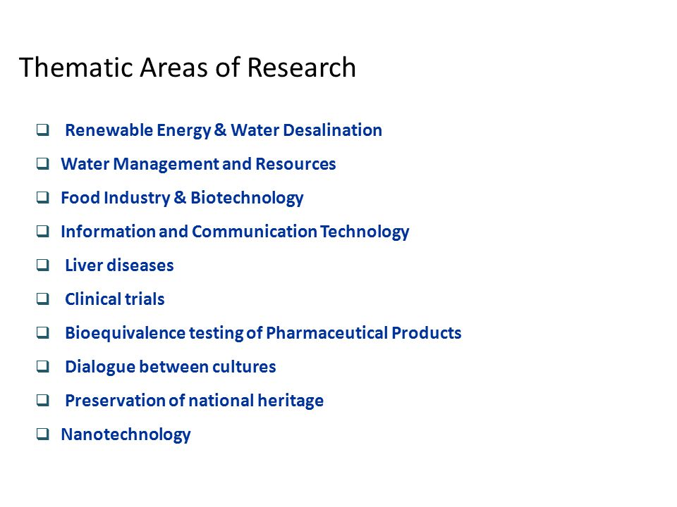 Thematic Areas of Research