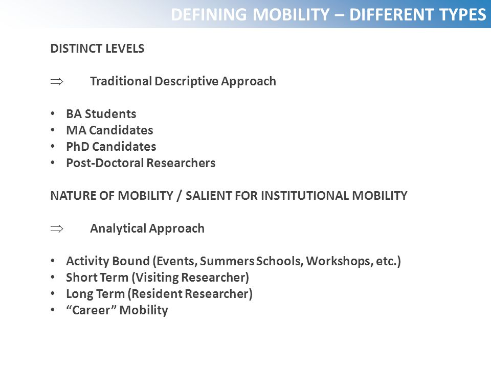 DEFINING MOBILITY – DIFFERENT TYPES
