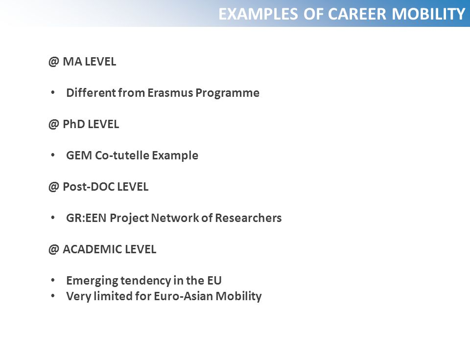 EXAMPLES OF CAREER MOBILITY