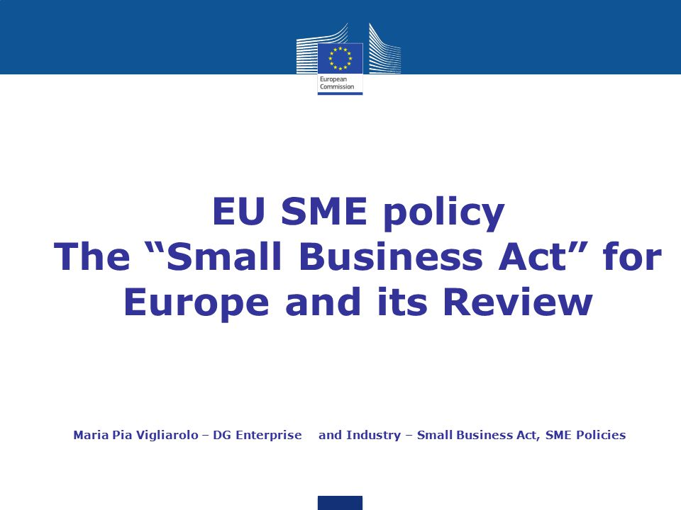 EU SME policy The Small Business Act for Europe and its Review