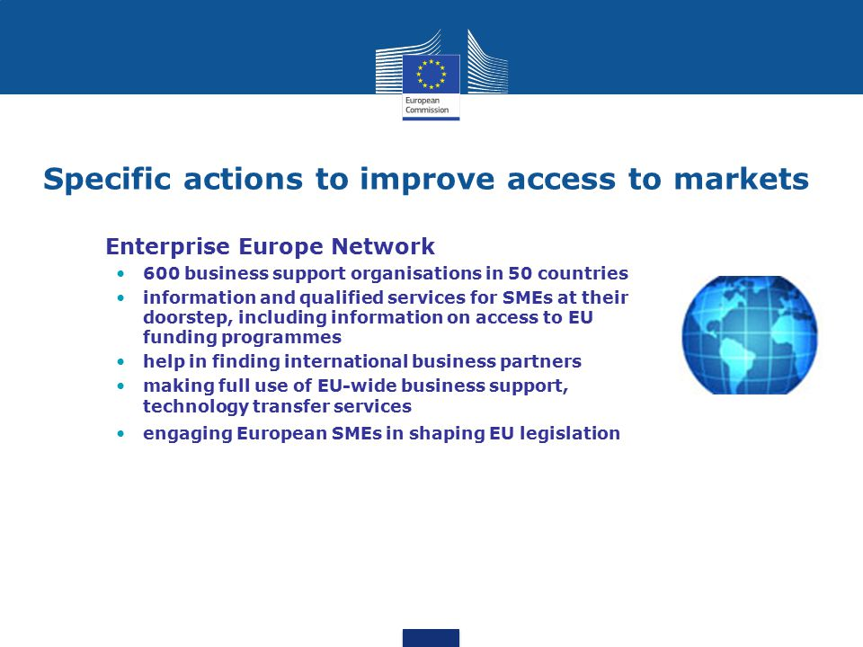 Specific actions to improve access to markets