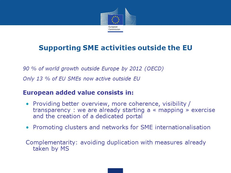 Supporting SME activities outside the EU