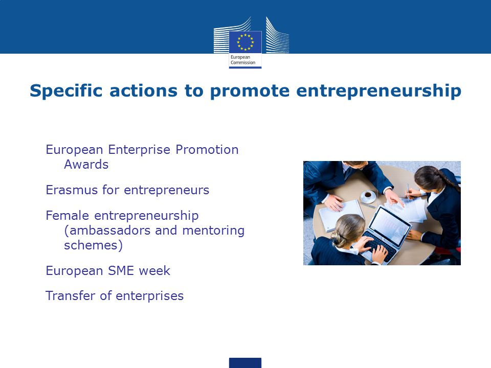 Specific actions to promote entrepreneurship
