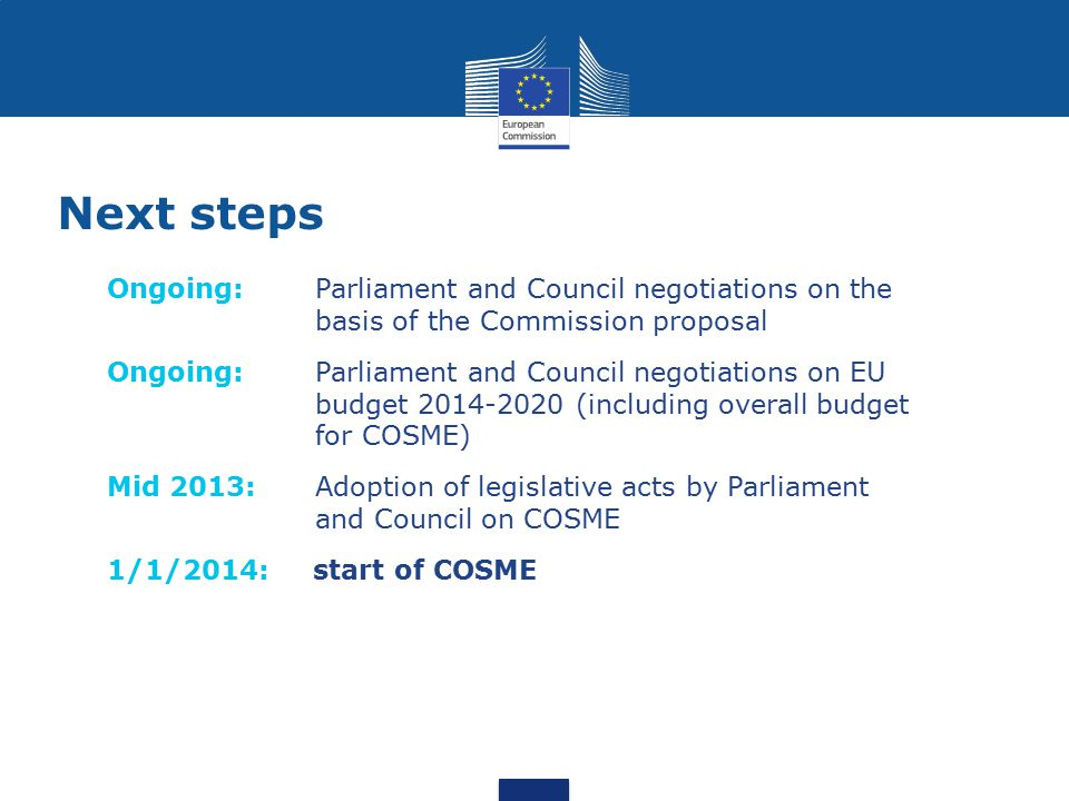 Next steps Ongoing: Parliament and Council negotiations on the basis of the Commission proposal.
