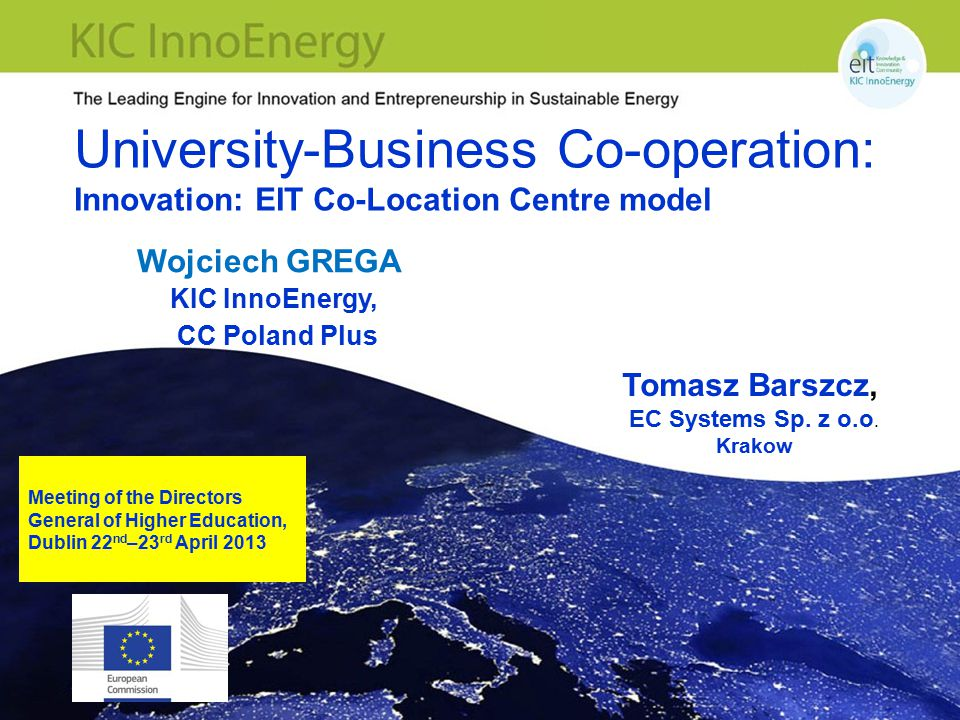 University-Business Co-operation: Innovation: EIT Co-Location Centre model