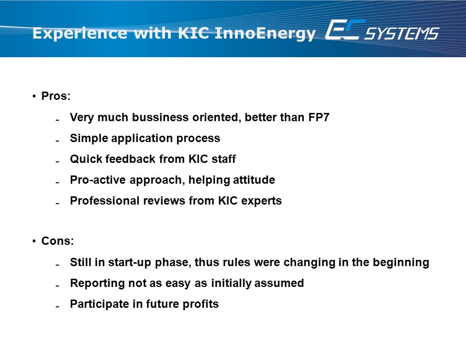 Experience with KIC InnoEnergy