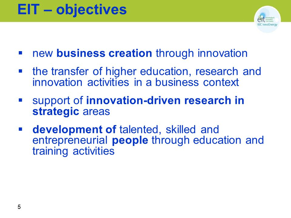 EIT – objectives new business creation through innovation