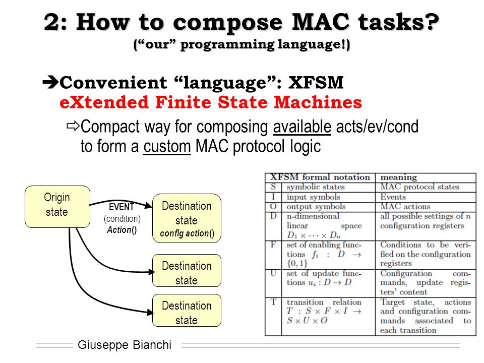 2: How to compose MAC tasks ( our programming language!)