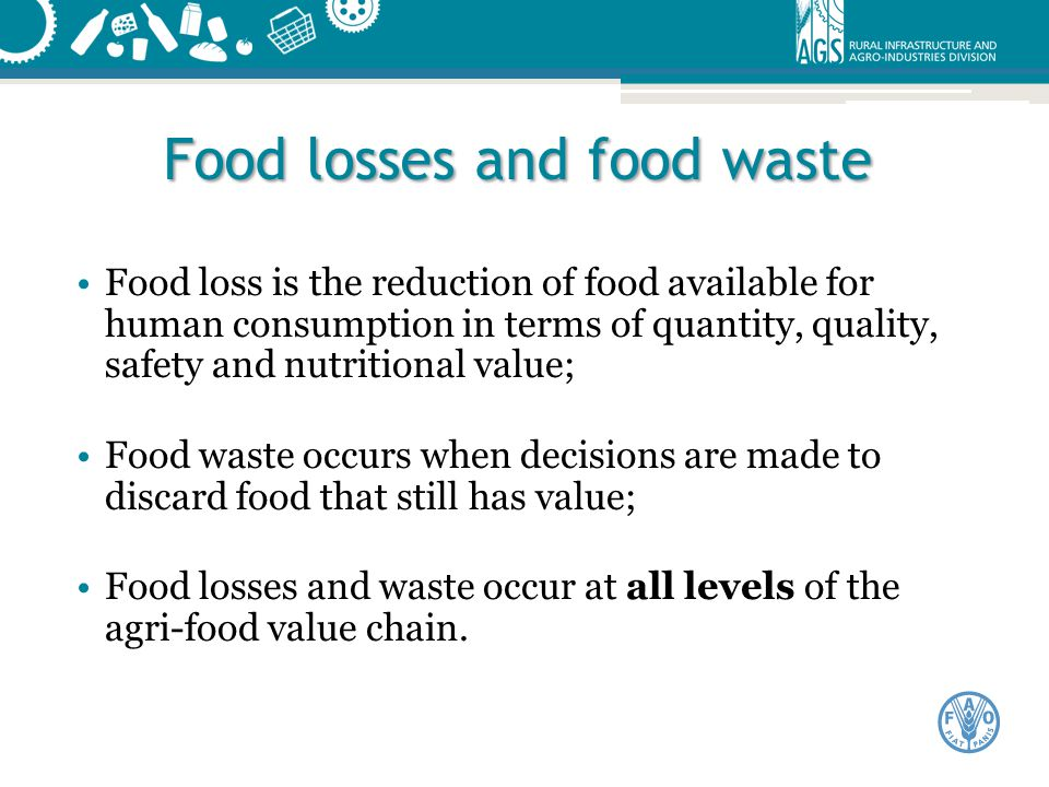 Food losses and food waste