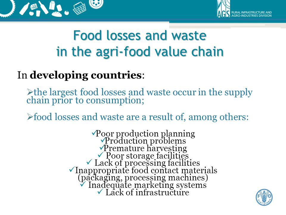Food losses and waste in the agri-food value chain
