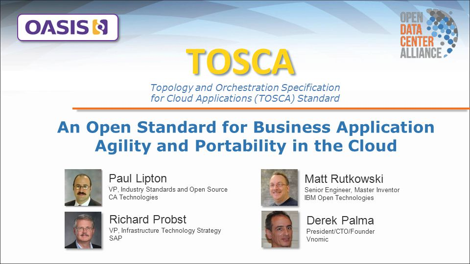 TOSCA Topology and Orchestration Specification for Cloud Applications (TOSCA) Standard.