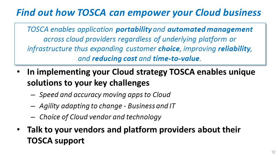 Find out how TOSCA can empower your Cloud business