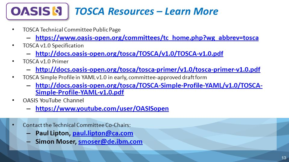 TOSCA Resources – Learn More
