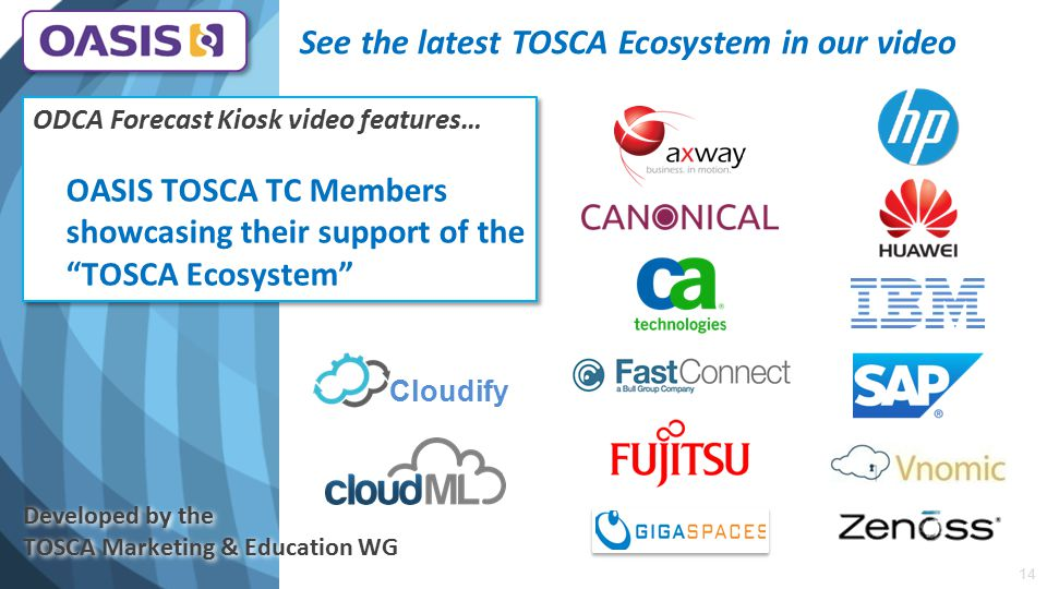 See the latest TOSCA Ecosystem in our video