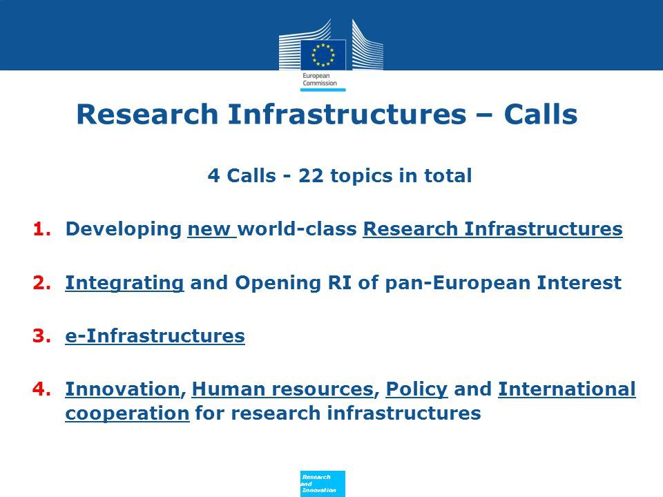Research Infrastructures – Calls