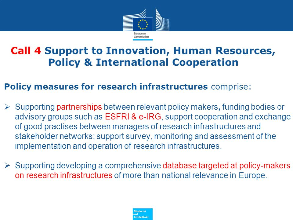 Call 4 Support to Innovation, Human Resources, Policy & International Cooperation