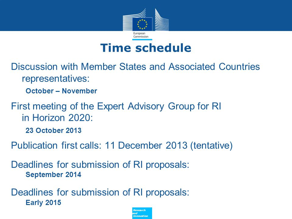 Time schedule Discussion with Member States and Associated Countries representatives: October – November.