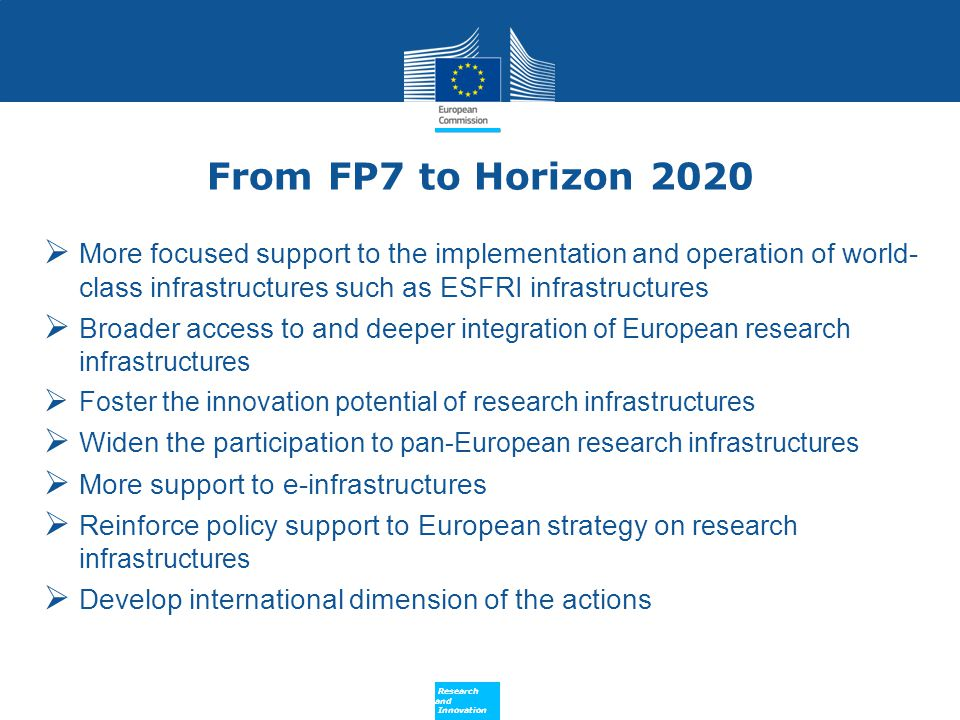 From FP7 to Horizon 2020 More focused support to the implementation and operation of world- class infrastructures such as ESFRI infrastructures.